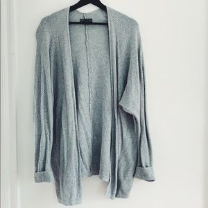 Forever 21 Waffle Knit Open Cardigan Gray 1X